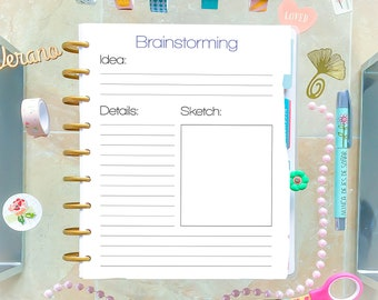 Brainstorming Happy Planner Insert Printable Pages 7 x 9.25 PDF Planner Refills Mambi Planner Made to Fit Erin Condren and Happy Planner