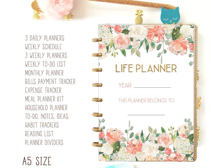 Life Planner Pages A5 Printable Planner Inserts, Filofax A5 Refills, Daily Planner 2020