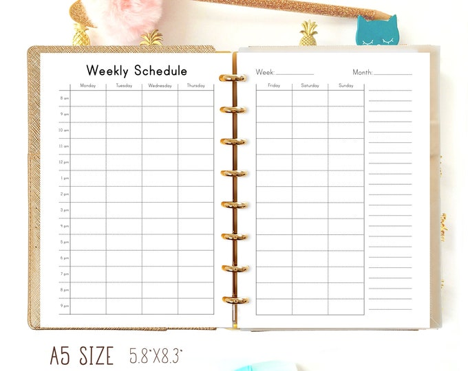 WEEKLY SCHEDULE A5 Planner Inserts Hourly Routine Planner Filofax Kikki K Large Refill Household Printable Schedule Weekly Todo Sunday Start