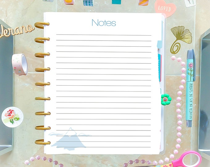 Notes Inserts List 7.25 x 9.25 Printable Inserts Made to Fit Erin Condren Insert and Classic Happy Planner Inserts