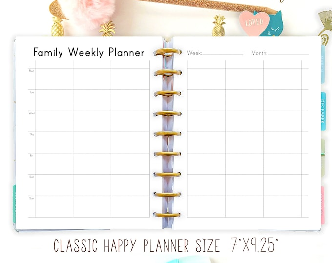 Happy Planner Printable Inserts, Week On Two Pages, Weekly Agenda, Weekly Planner Pages