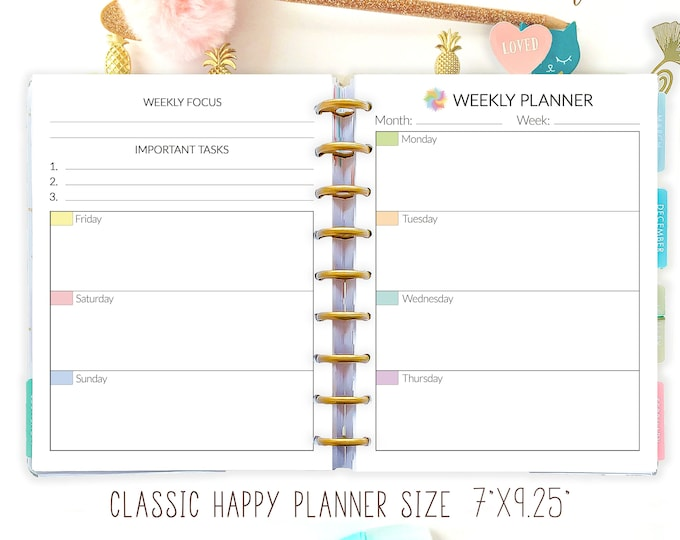 Weekly Planner Pages, Weekly Agenda, Happy planner printable inserts