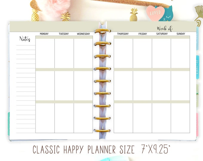 Weekly Planner Pages made to fit Happy Planner Inserts and Erin Condren Insert
