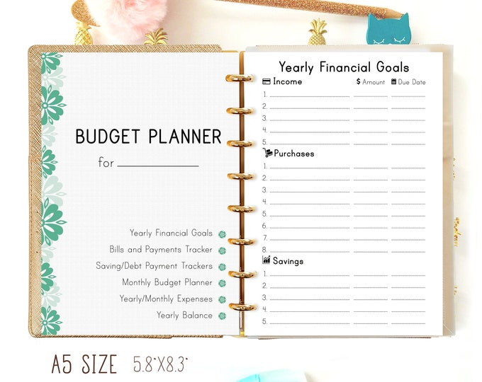 Budget Planner Inserts, A5 Filofax Inserts, Budget Binder, Printable Planner