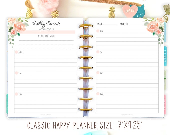 Weekly Planner Pages made to fit Classic Happy Planner Lined Planner Printable, Week on 2 Pages.