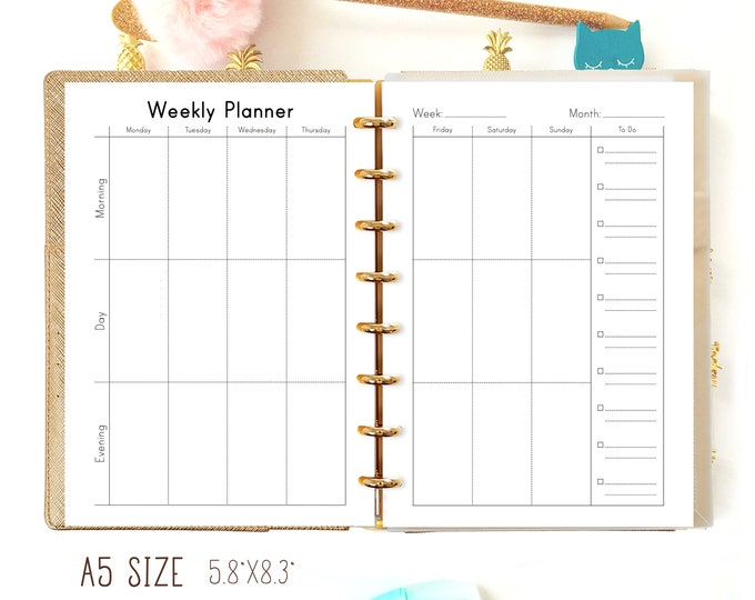 Weekly Planner Pages, A5 Filofax Insert, A5 Planner Inserts Weekly