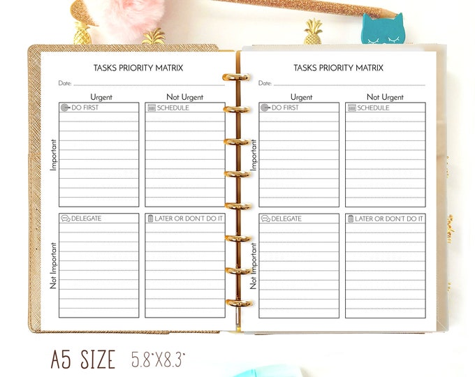 Tasks Priority Matrix Printable Eisenhower Matrix Productivity Box A5 Filofax Insert Priority Management Decision-making
