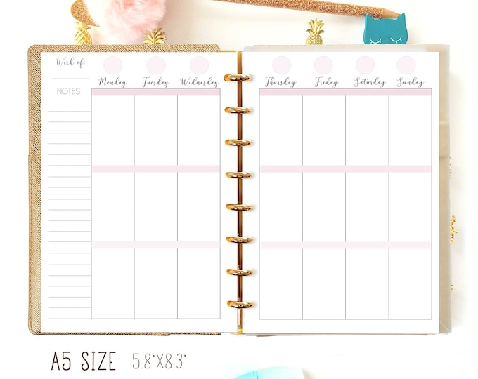 Weekly Planner Pages, A5 Printable Planner Inserts, Weekly Agenda Printable