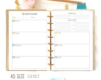 A5 Planner Inserts Weekly Planner Printable A5 Filofax Refill