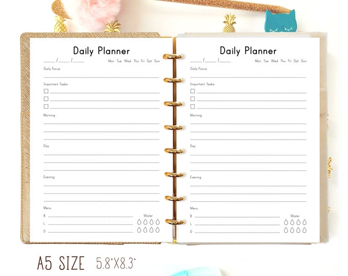 Daily Planner Pages, Printable A5 Planner Inserts, Daily Organizer, DO1P, Filofax A5 refills