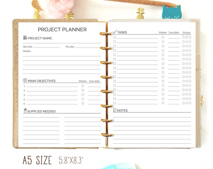 A5 PROJECT Planner Printable pdf Filofax A5 inserts 5.8x8.3 Project Tracker Craft Planner, A5 Planner refills