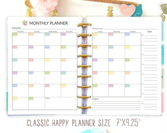 Monthly Planner Printable, Happy Planner Inserts 7 x 9, Month on Two Pages, Made to Fit Erin Condren Refills