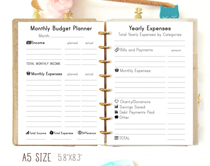Budget Planner Printable A5 Filofax A5 Inserts Printable A5 Planner Refills