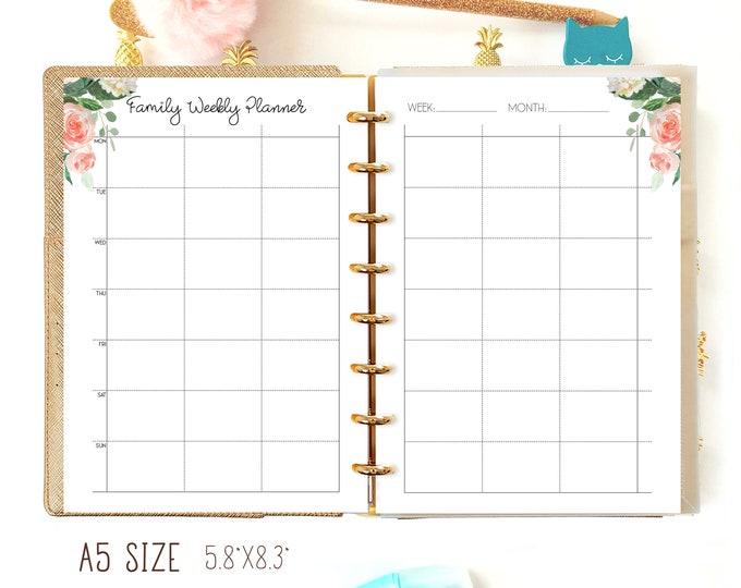 Weekly Family Planner Weekly Planner A5 Planner Inserts Filofax A5 Printable To Do List