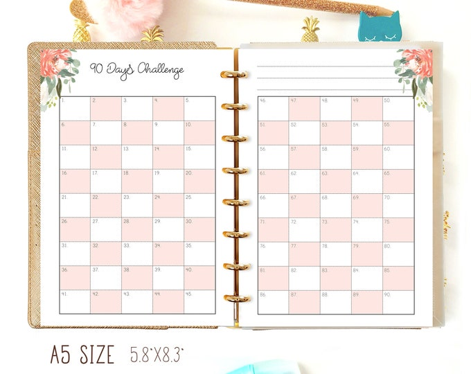A5 Planner Refill, Habit Tracker Printable A5 Filofax Inserts Fitness Printable