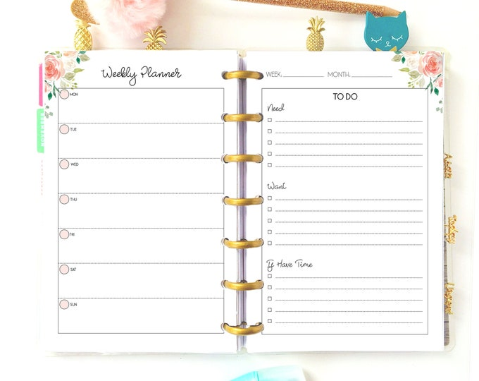 Weekly Planner Pages, Mini Happy Weekly, Weekly To Do List Printable