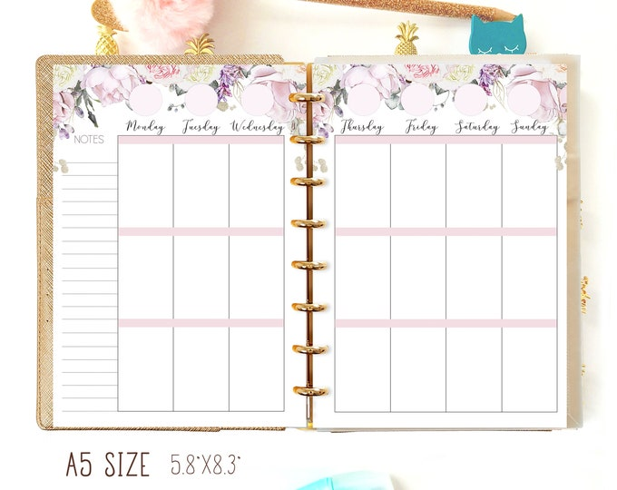 A5 Weekly Insert, Weekly Planner Pages, A5 Planner Refills Printable