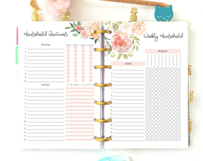 Cleaning Schedule Printable, Mini Happy Planner Inserts, Household Planner, Cleaning List