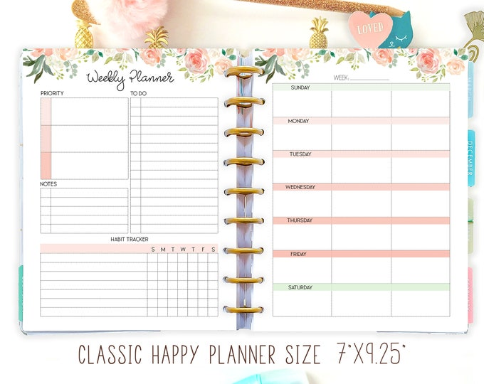 Weekly Planner made to fit Happy Planner Inserts Printable, Weekly Agenda.
