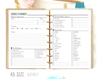 Travel Journal A5 Travel Planner Printable Vacation Organizer Packing List Shopping List Filofax A5 Inserts
