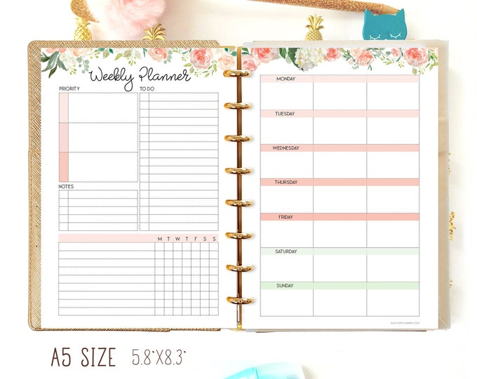 Weekly Planner A5 Planner Insert, Productivity Planner, Weekly planner pages, Filofax A5 Insert,