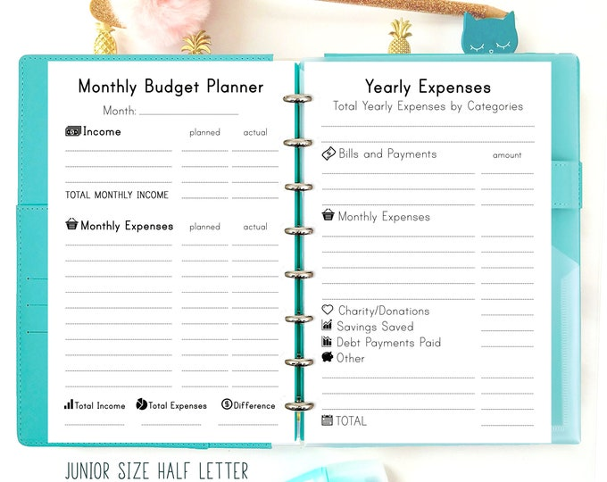 Half Size Planner Inserts, Half letter Planner, Budget Planner Printable