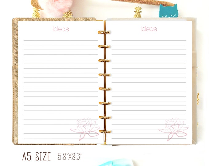 A5 Planner Inserts for Filofax A5 IDEAS Planner Printable Filofax Inserts Lined Paper a5 Planner Inserts Filofax A5  Printable Planner