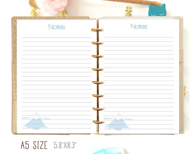 A5 Planner Inserts, Printable Planner Pages, Notes PDF, Discbound Printable