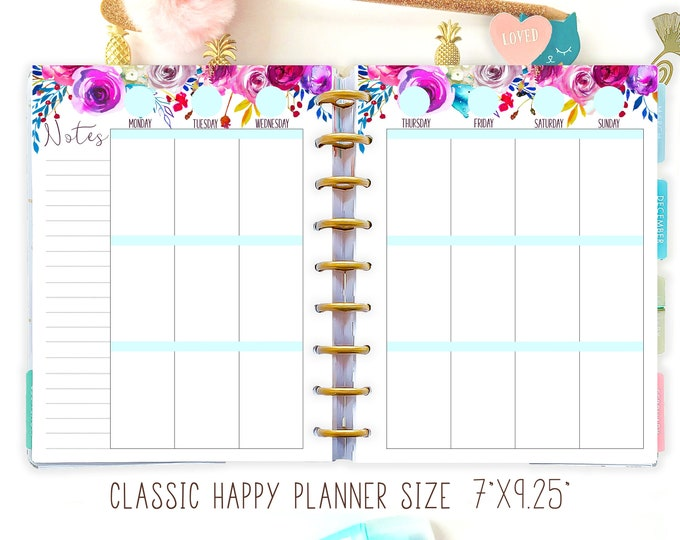 Weekly Planner Pages, made to fit Happy Planner Inserts Printable, Happy Planner Weekly Kit, Weekly Agenda