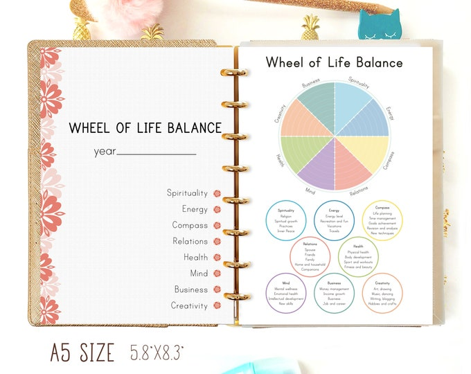 Life Balance Wheel, A5 Planner Inserts for Filofax A5 Printable.