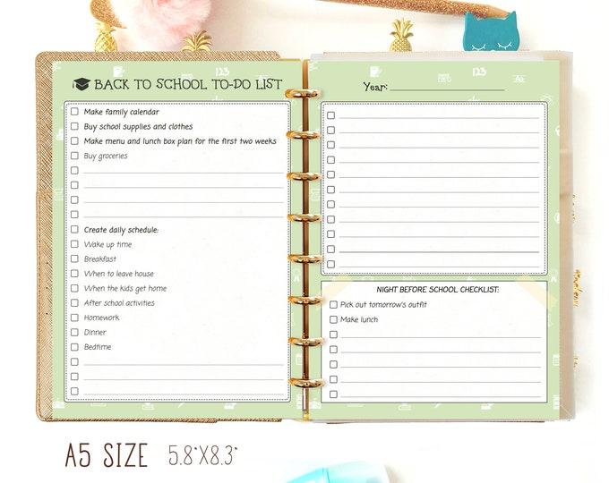 Back to School Planner 2020 School Supplies homeschool A5 Filofax Inserts A5 planner Inserts A5 Planner Refills