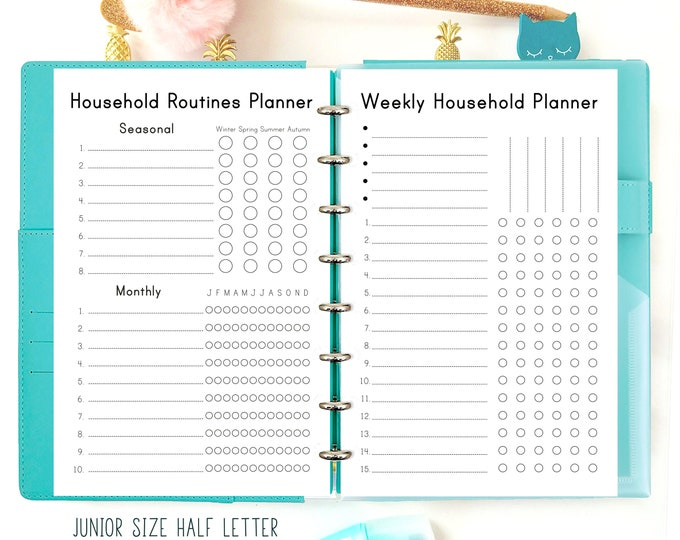Cleaning List, Family Organizer, Half Size Planner, Half Letter Inserts Printable, Discbound printables