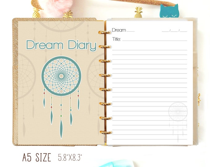 Dream Journal A5 Planner Refills for Filofax A5 Inserts Printable