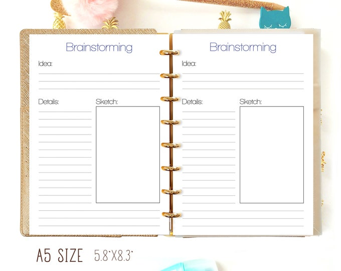 "A5 Planner Inserts, Brainstorming A5 5.8"" x 8.3"" Filofax A5 Inserts, A5 Planner Refills, Discbound printable"