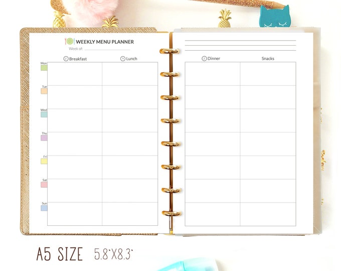 Weekly Meal Planner for Filofax A5 Inserts Printable Planner, A5 Planner Refills