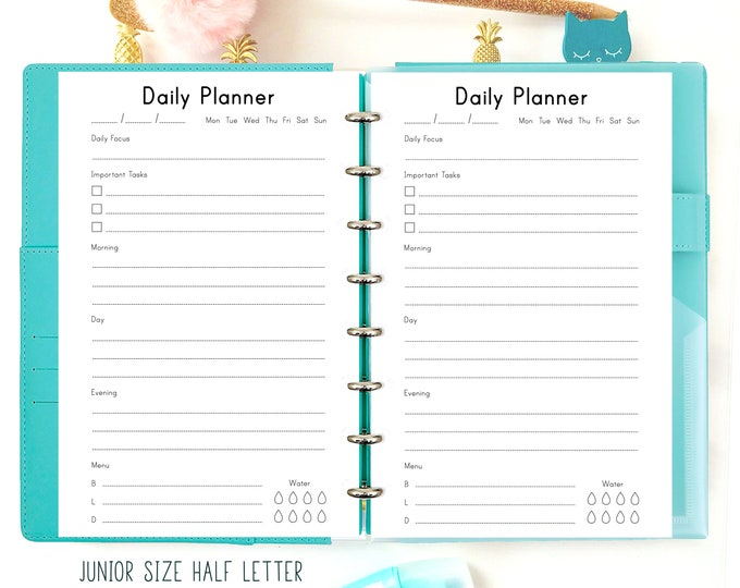 Daily Planner Pages, A5 Half Letter Printable Planner Inserts printable to do list