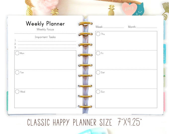 Happy Planner WEEKLY Inserts Printable Weekly Planner Inserts Mambi Planner Printable Planner 2021 Planner made to Fit Erin Condren