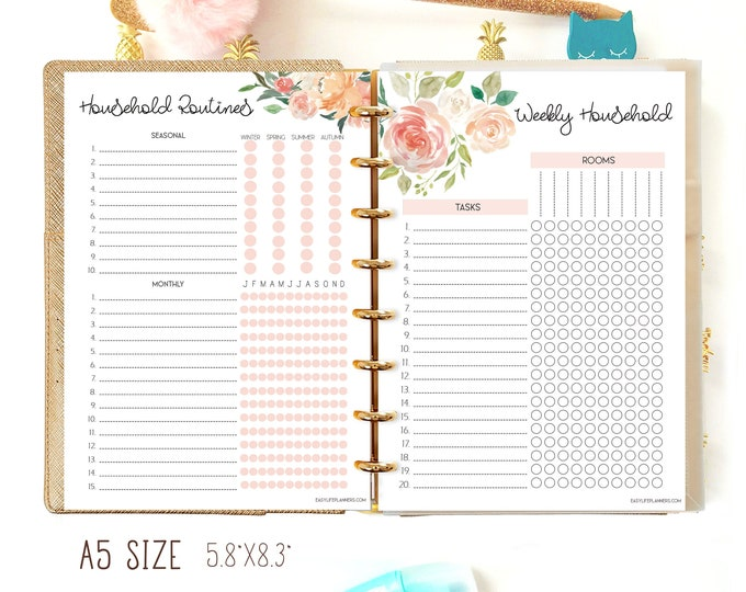 Household Planner Printable A5 Planner Inserts, Cleaning Checklist, Cleaning Printable