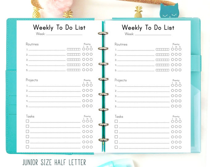 Weekly To Do List, Productivity Planner, Half Size Planner Printable