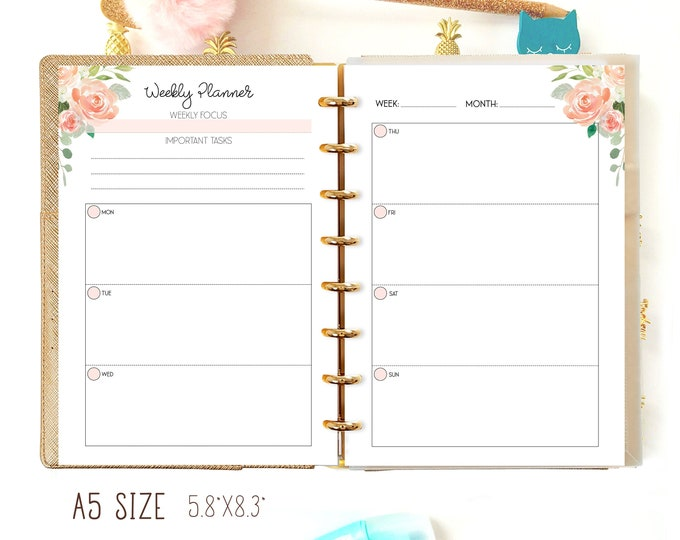 Weekly Planner Pages, Filofax A5 Insert, Weekly Planner A5 Planner Insert, Productivity Planner.