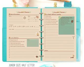 Vacation Planner, Travel Planner, Travel Journal, Filofax A5 Insert Half Size Printable