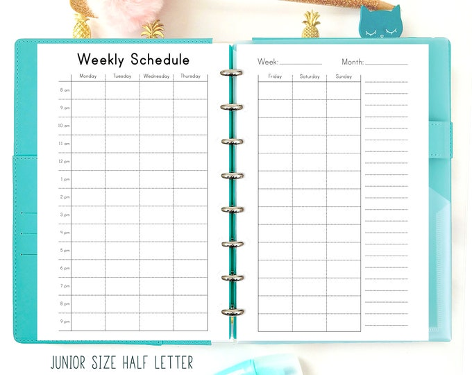 Weekly Hourly Planner, Half Letter Size, Weekly Schedule Printable.
