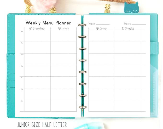 Weekly Meal Planner Printable, Food Journal, Printable, Weekly Meal Plan, Filofax Refills.