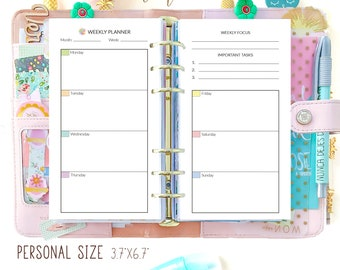 Weekly Planner pages, Week on 2 Pages, Printable Filofax Personal Insert