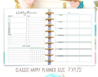 Weekly Planner Pages made to fit Happy Planner Printable Insert and Erin Condren Insert