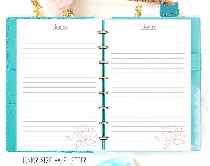 Ideas Inserts, Half Letter Planner Printable, Discbound Printables, Junior Insert