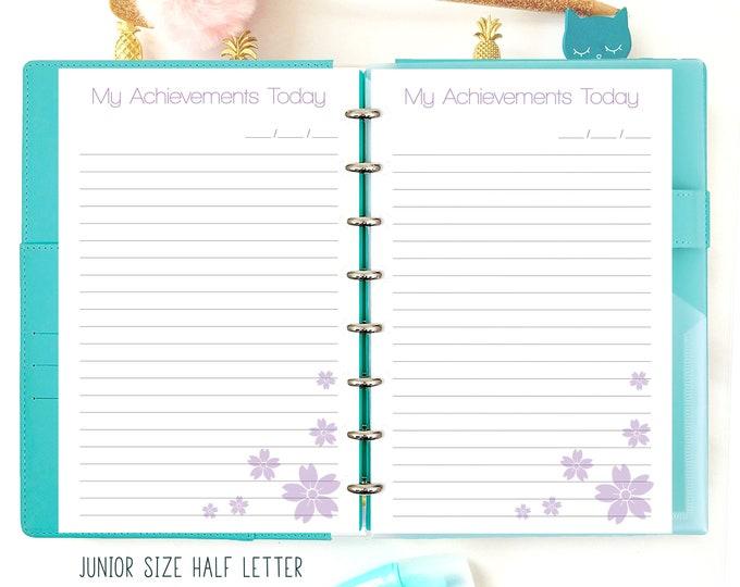 My Achievements, Half Letter Planner Printable, Half Size Inserts, Discbound Inserts