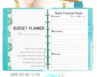 Budget Planner, Finance planner, Half size planner, Discbound Printable