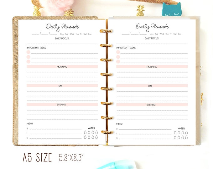 Daily Planner Pages, A5 Printable Planner Inserts, DO1P, A5 Filofax Inserts