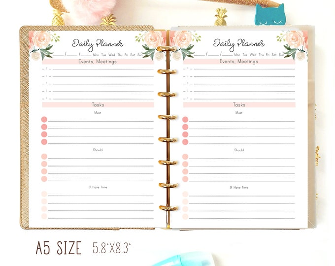 Daily Planner Printable, A5 Planner Inserts for Filofax A5, Daily To Do List